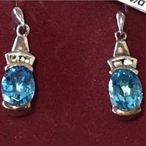 Sterling 14K Diamonds & Blue Topaz Stones Earrings